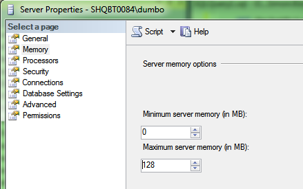 Setting the Max Memory too low